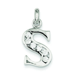 925-Sterling-Silver-White-CZ-Initial-S-Charm-Pendant-MSRP-60