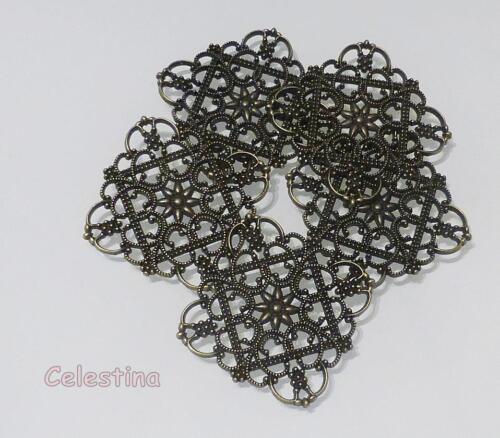 10 Antique Bronze Filigrane Connecteurs Rectangle-liens solides 44 mm x 15 mm LF NF
