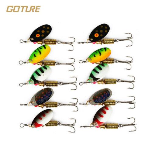 Goture 10pcs Spinnerbait Fishing Lures Buzzbait 3.5g 5.5g Metal Spoon Hard Bait
