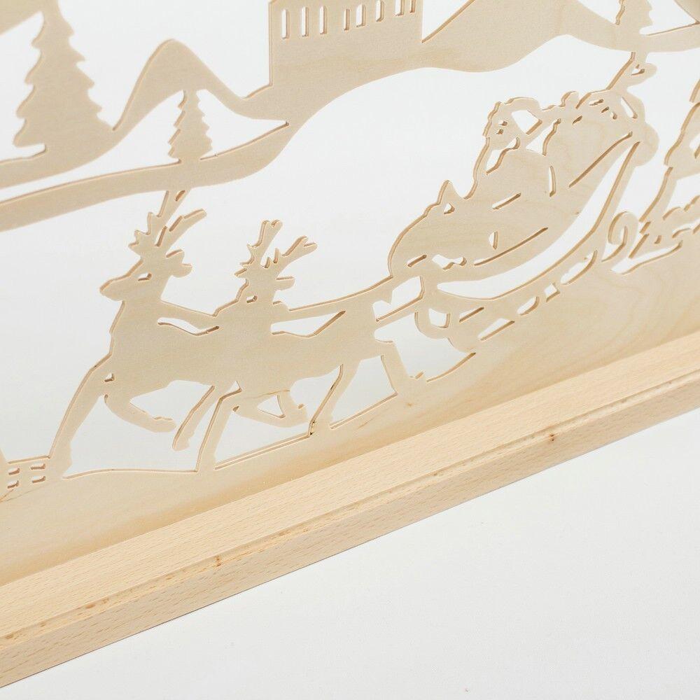 Holz-Schwibbogen Holz-Schwibbogen Holz-Schwibbogen Lichterbogen Weihnachtsmann Schlitten 70 cm Made im Erzgebirge 1f8744