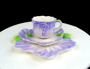 BOMBAY-CO-PORCELAIN-BMA12-LAVENDER-FLORAL-2-1-2-034-CUP-AND-SAUCER-TRIO-1992