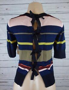 fbef5f7e049769 NEW RACHEL Rachel Roy Bow Tie-Back Striped Top Sweater Flame Combo ...