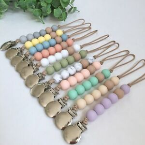Silicone-Beads-Dummy-Pacifier-Chain-Clips-Baby-Sensory-Teething-Soother-Holder