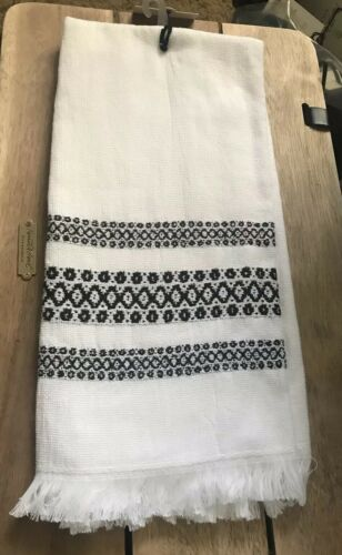 NEW Hearth /& Hand w// Magnolia Black /& White Geometric Stripe Fringed Hand Towel