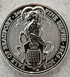 2019-Queen-039-s-Beast-the-Yale-of-Beaufort-2-oz-9999-silver-coin-5-pound-Brexit