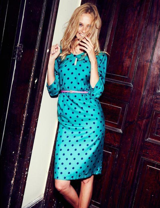NEW BODEN Viscose Silk Green Polka Dot Dress Size US 12
