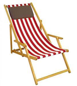 Chaise Longue Rouge-Blanc Fauteuil de Plage Transat pour Jardin ...