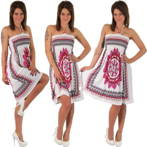 Été Robe Bandeau Bois-Perles Fleur Ethno Plage Robe tuchkleid Chiffon azthek