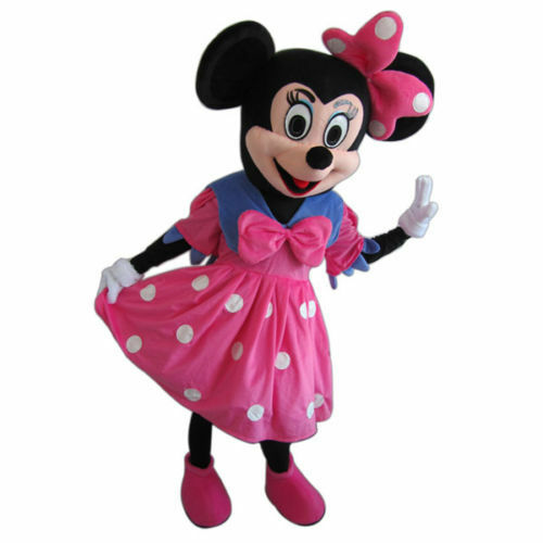 Pink Dress Minnie Mouse Mascot Costume Cartoon Character Adult Suit Express