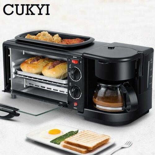 3 In 1 Electric Breakfast Machine Multifunction Coffee maker frying pan mini ove