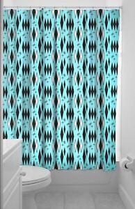 Details About Sourpuss Retro Diamond Shower Curtain Rockabilly Turquoise  Bathroom Home Decor