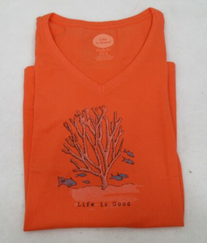 Life is Good Women/'s T Shirt Fish Coral Large