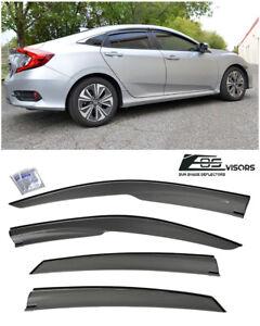 For 16-21 Honda Civic Sedan FC1 FC2 JDM MUGEN Side Window Visors Rain Deflectors