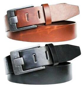 Echt-Leder-Damen-Herren-Guertel-Schnalle-Lederguertel-Schwarz-Braun-4-cm-Belt-NEU