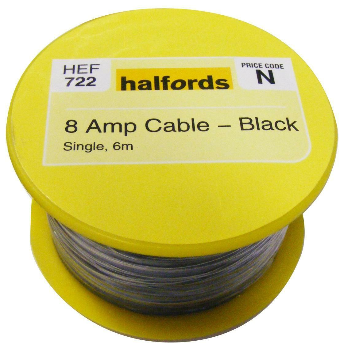 Halfords Hef722 Single Core Cable 8 Amp 12v Black 6m Long 14 Copper Wiring Harness Adapter Norton Secured Powered By Verisign