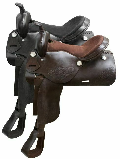 16  Economy western saddle with floral tooling.