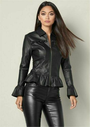 Real-Genuine-Leather-Motorcycle-Biker-Top-Shirt-Slim-Fit-For-Women-amp-Girls