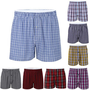 Mens-Cotton-Brifes-Classic-Woven-Plaid-Loose-Boxer-Tartan-Shorts-Home-Underpants