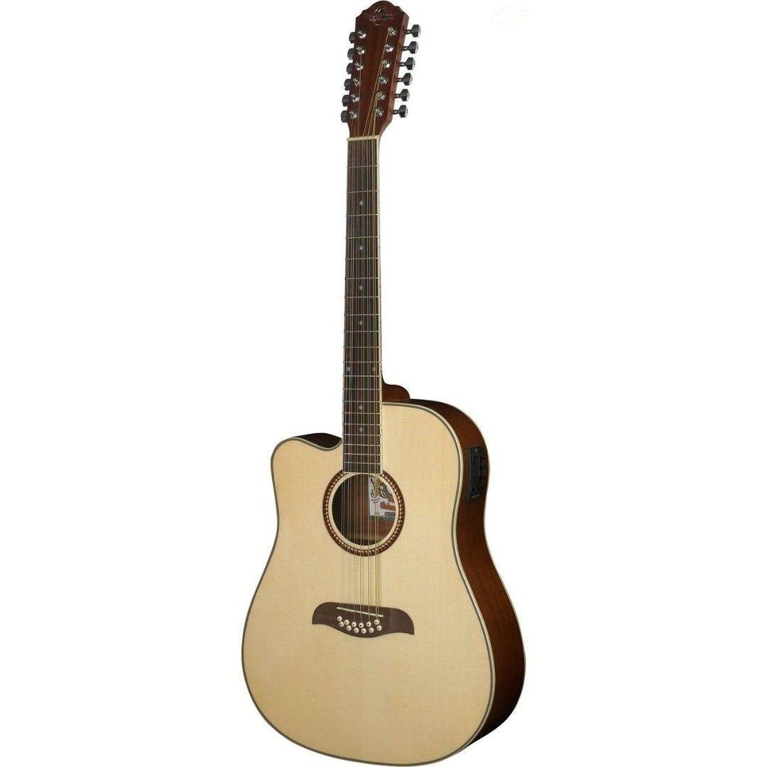 Oscar Schmidt OD312CELH Guitar - Left-handed 12 String Acoustic Electric Spruce