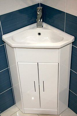 High Gloss White Compact Corner Bathroom Vanity Unit Cabinet Ceramic Basin Sink