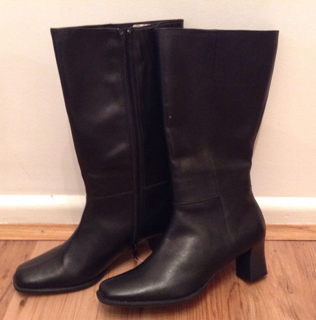 New CLARKS shoes shoes shoes Size 5 LODGE Mid Wider CALF Black Leather Boots (EU38) fc6b6d