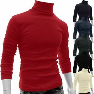 Mens-Long-Sleeve-High-Neck-Pullover-Knit-Jumper-Sweatshirt-Tops-Sweater-Blouse