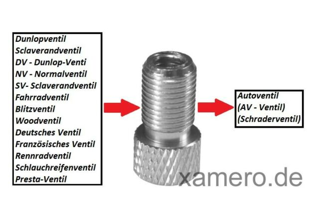 Valve-Adapter From Sv on AV valve in various colours XLC by Schulz