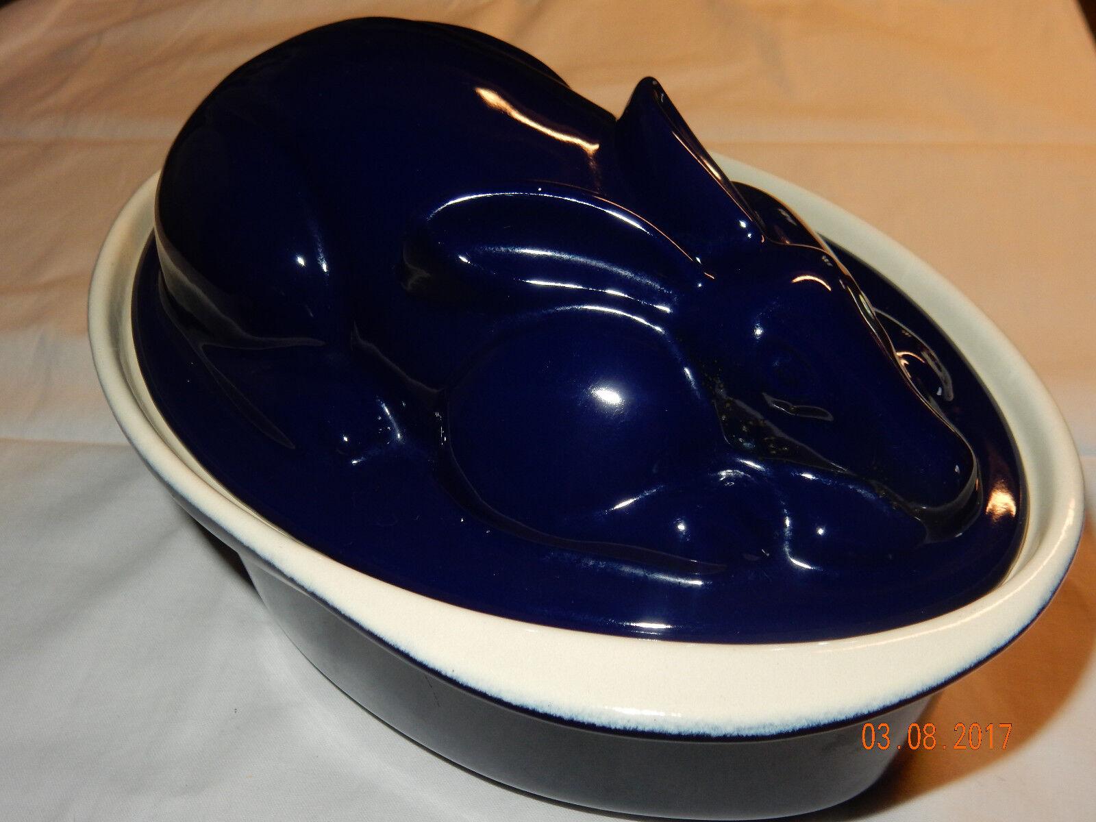 CHASSEUR 1 1 4 quart bleu émail fonte lapin Cocotte avec couvercle  Paques