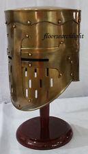 BRASS ANTIQUE Medieval Knight Crusader Armor Templar Helmet SCA LARP W5D4H