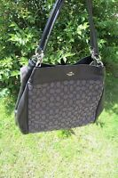 Coach Lexy Shoulder Bag In Signature Jacquard With Leather Trim Free P&p