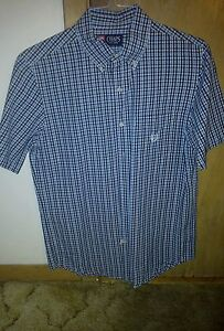 Ralph-Lauren-Chaps-blue-plaid-short-sleeve-buttondown-casual-shirt-size-small