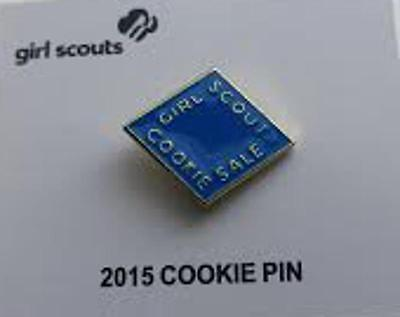 2015 Girl Scout Cookie Pin ~ Electric Blue ~ New on Card