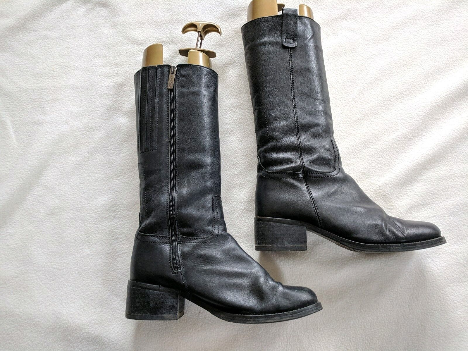 DUO Narrow Black Leather Mid Calf Boots with Fleece Lining, Size 38D