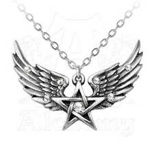 Alchemy Gothic O Fortuna Winged Pentagram Pendant Necklace Crystal Pewter P693