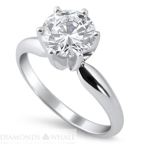 0.5 CT Enhanced Diamond Ring SI1 F Round Cut 14K White gold Engagement Ring