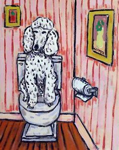 Poodle dog bathroom wall art  artist PRINT 8x10 impressionism gift new