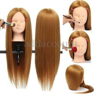 """26"""" Hairdressing & Makeup Training Practice Human Hair Head Mannequin Doll Clamp"""