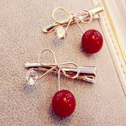 Hairpins Jewellery Accessories Cherry Bow Hair Jewelery 2pcs Pair Girls Headwear