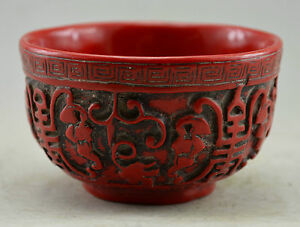 Chinese-Red-Coral-Carved-Grape-Figure-Bowl-fu-foo-longevity-meaning