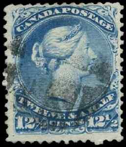 Canada #28 used F 1868 Queen Victoria 12 1/2c blue Large Queen Fancy Cork cancel