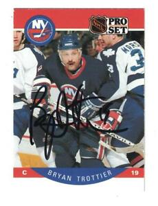 Bryan-Trottier-AUTOGRAPH-1990-91-PRO-SET-HOCKEY-CARD-SIGNED-NEW-YORK-ISLANDERS