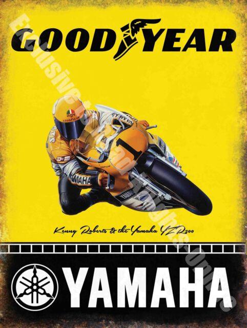 Vintage Garage, Yamaha Goodyear Racing Motorcyle, 57 Tyre, Large Metal/Tin Sign