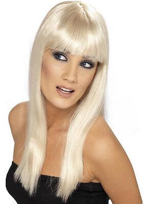 Long Blonde Glamourama Lady Pop Star Wig with Bangs
