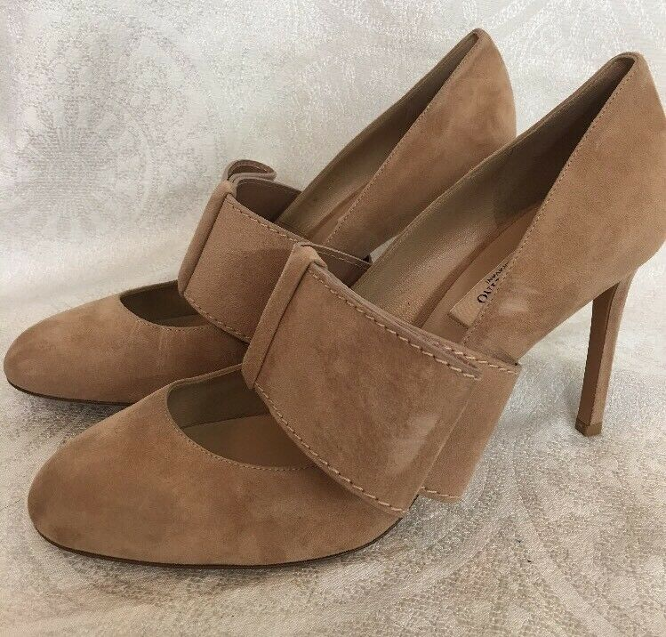 Valentino  schuhe Beige suede with Side Half  Valentino Bow size 40 New 55eff1