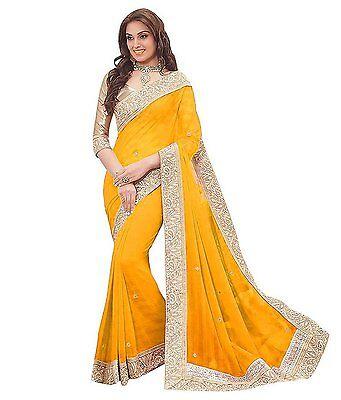 Sunsilk Designer Embellished Yellow Chiffon Saree With Golden Blouse