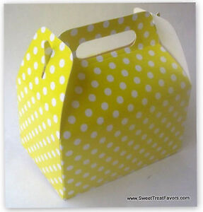 Details About Yellow White Polka Soft Party Supplies Boxes Birthday Decoration Gable X12 Dots