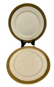 Vintage Union Ceramique Limoges China Pair 7 25 Salad Plates Gold Trim Unc38 Ebay