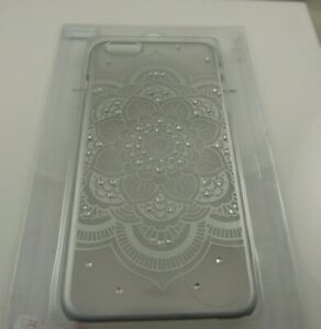 fits-iPhone-6-plus-phone-case-clear-frosted-flower-bling-crystals-henna-print