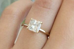 2.10 Ct Cushion Solitaire Moissanite Engagement Ring 18K Real Yellow Gold Size 5
