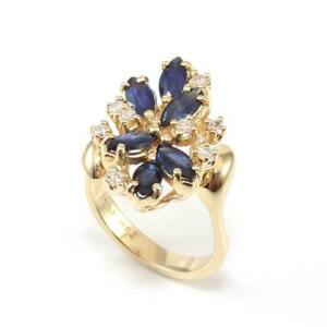 14K-Yellow-Gold-Natural-Blue-Sapphire-Diamond-Cluster-Ring-Size-6